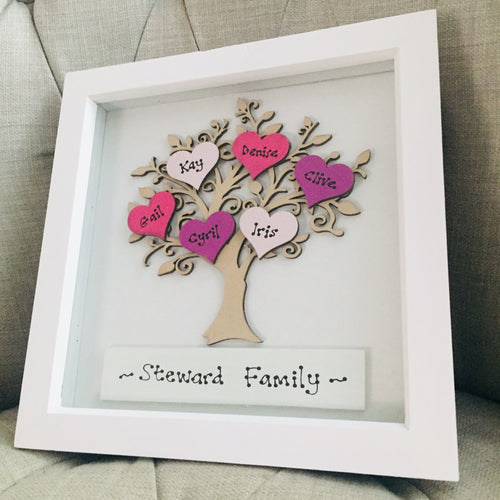 Family tree personalised in white frame