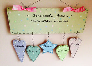 Grandparent 'where grandchildren are spoiled' dangly sign