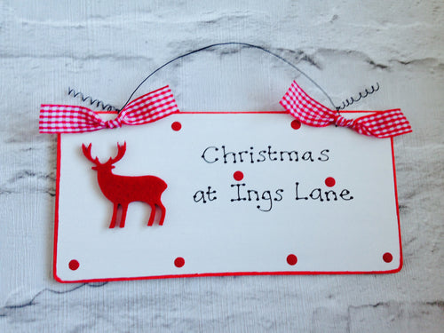 Reindeer Christmas Family House Plaque Sign