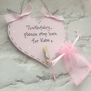 Tooth fairy stop here personalised plaque sign