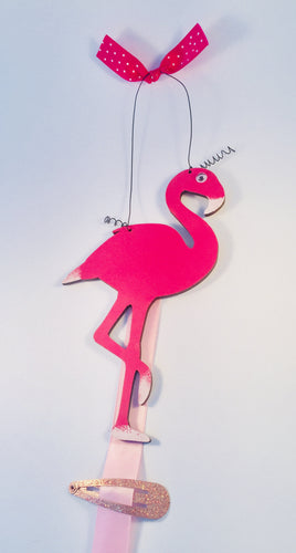 Flamingo personalised clip & bow holder room sign plaque