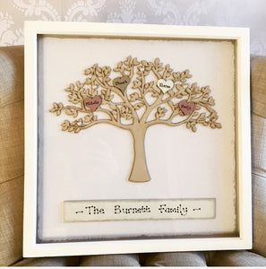 Family tree personalised in white picture frame