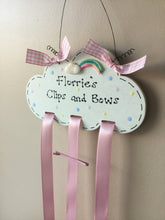 Load image into Gallery viewer, Rainbow cloud personalised clip & bow holder room plaque sign