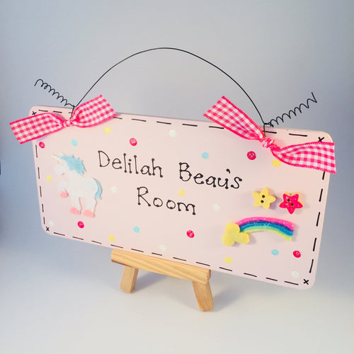 Magical unicorn and rainbow personalised room plaque sign