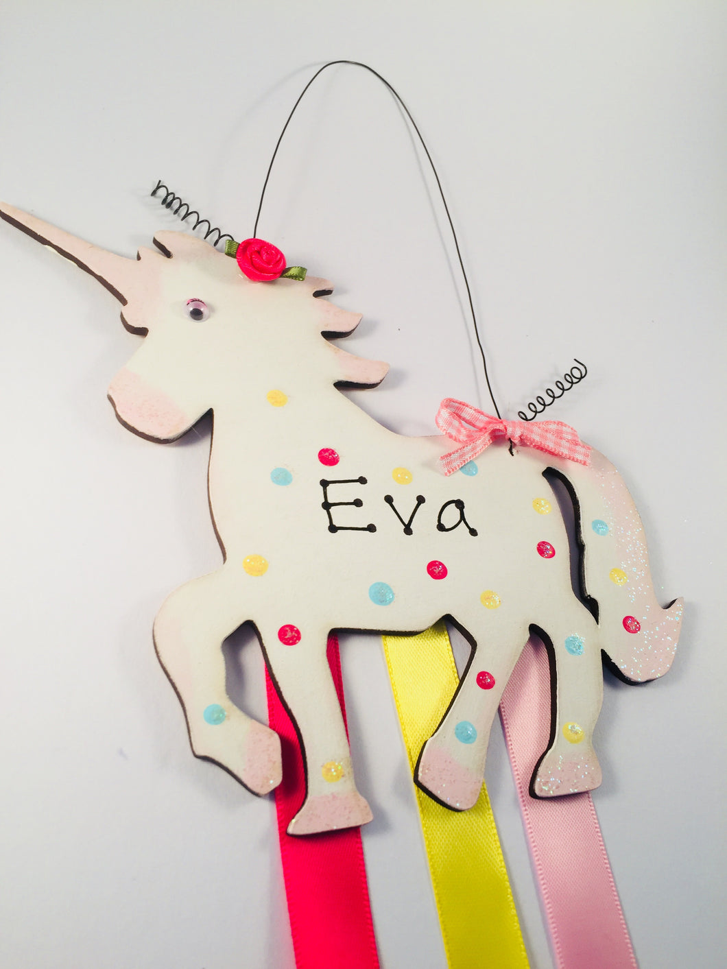 Unicorn personalised clip & bow holder plaque sign