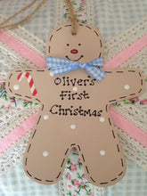 Load image into Gallery viewer, Gingerbread Person Baby's 1st Christmas sign