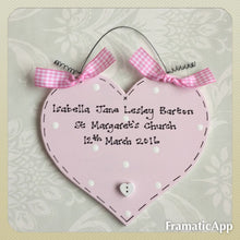 Load image into Gallery viewer, Christening heart sign