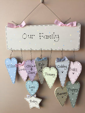 Personalised 'Our Family' dangly sign