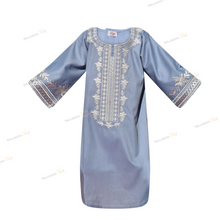 Load image into Gallery viewer, My Jalabeya-Blue & White Linen - YALLAKIDS