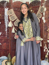 Load image into Gallery viewer, My Jalabeya- Eid Collection Grey & Yellow Nida - YALLAKIDS