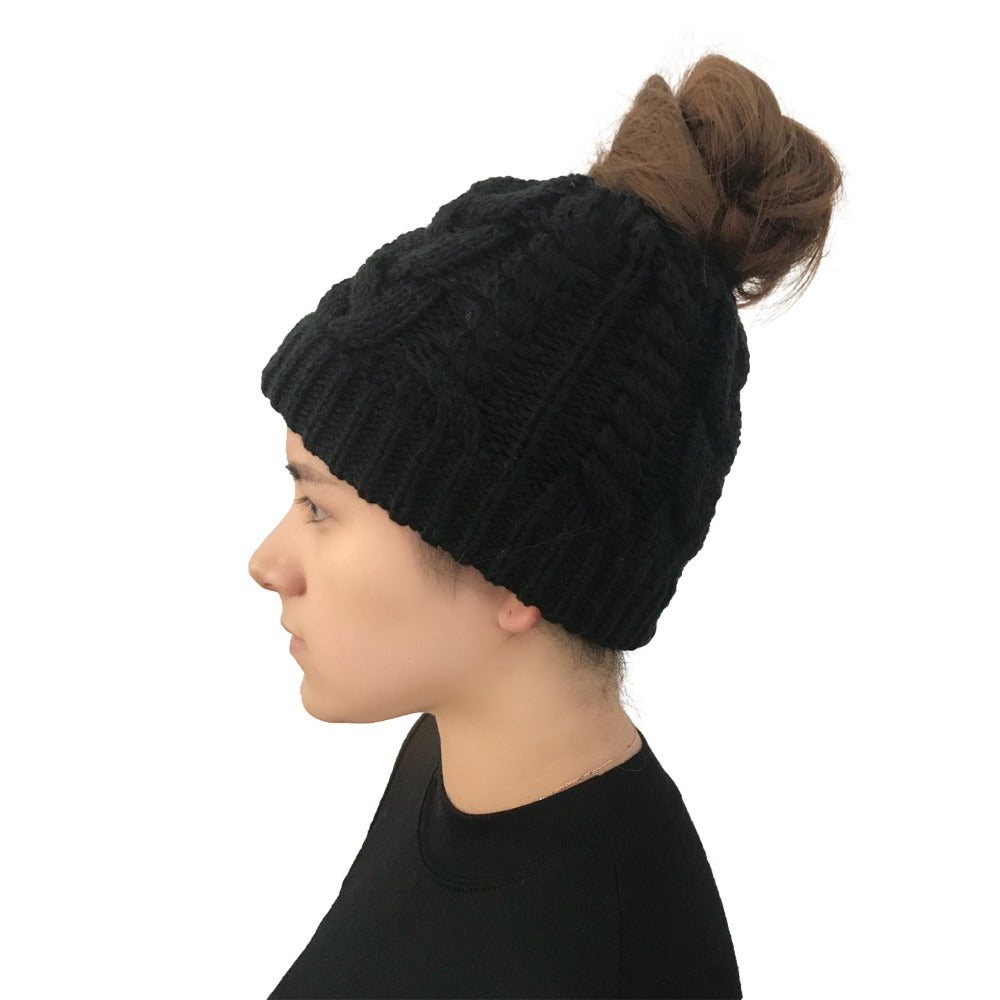 ... Women s Girls Stretch Knitted Wool Crochet Hats Caps Messy Bun Ponytail  Beanie Winter Warm Cap Beanies ... a38050973