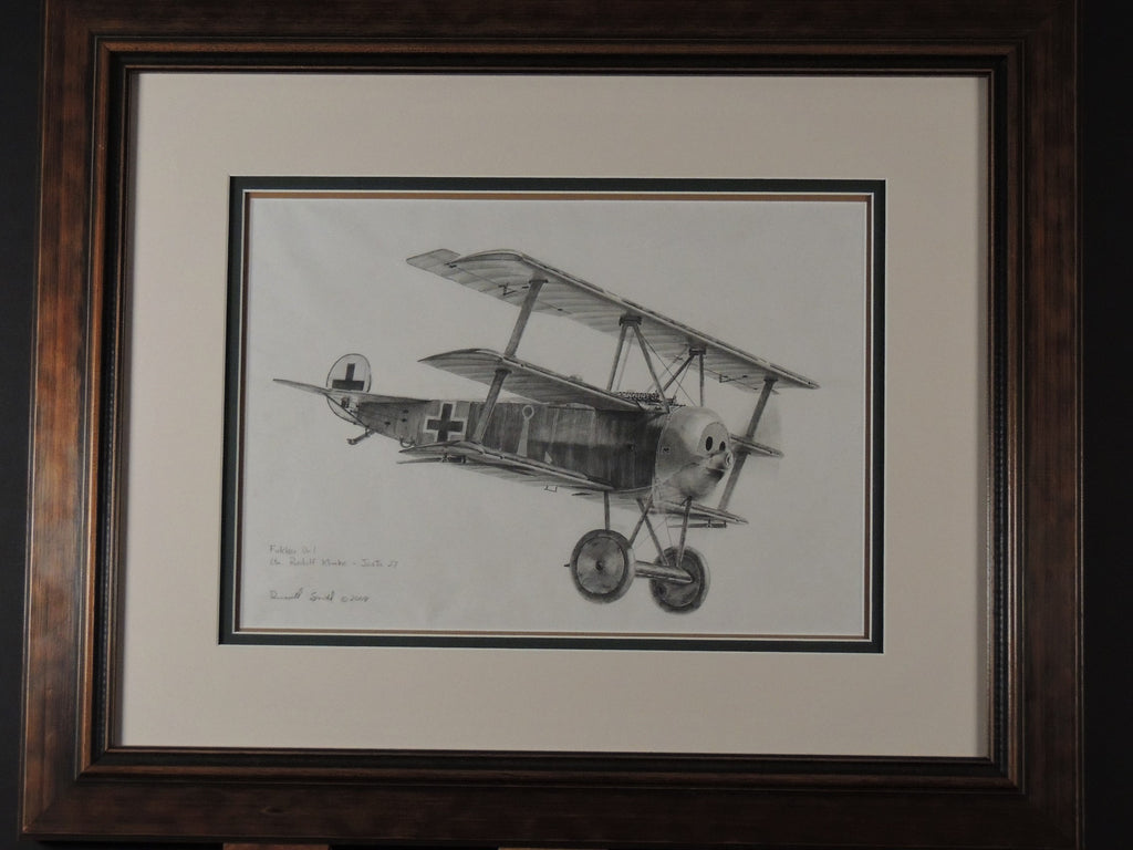 Fokker Dr1 original pencil drawing by Russell Smith