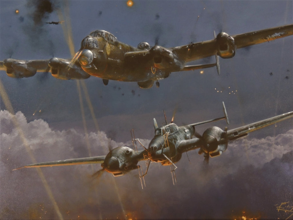 Lancaster Under Attack by Robert Taylor - Framed Giclée Canvas Proof #1/75