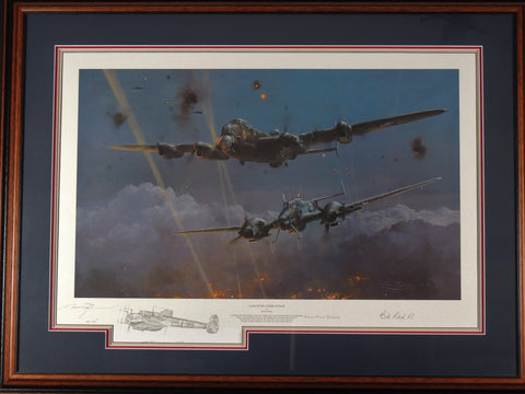 Lancaster Under Attack by Robert Taylor - Framed remarqued print $ 16/25