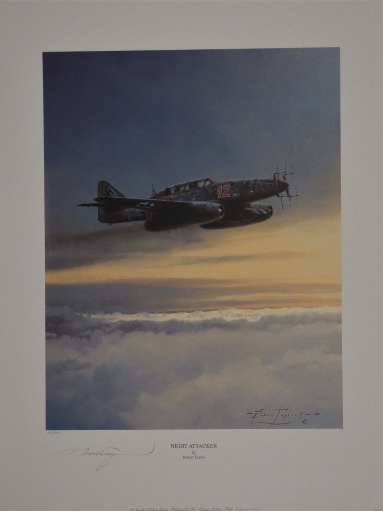 Two ME 262 Night Fighter companion prints by Robert Taylor sold as a pair
