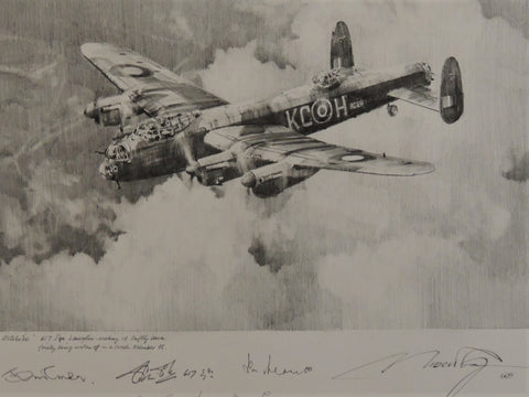 Original pencil drawing by Robert Taylor - 617 squadron Lancaster