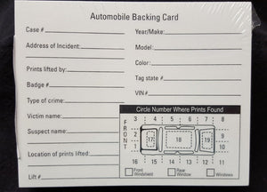 Automobile Latent Print Backing Cards