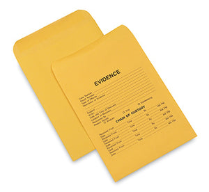 "10"" x 13"" Kraft Paper Evidence Envelopes (28 lb.)"