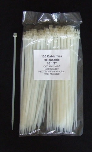 "Cable Ties, Releasable, 10.5"", Clear, pack"