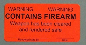 "Weapons Label, Warning, Contains Firearm, 2""x4"""