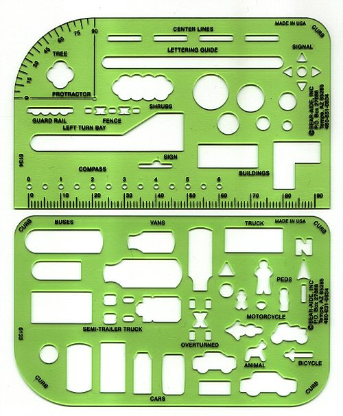 Pocket Traffic Template Set, Set of 2 w/case