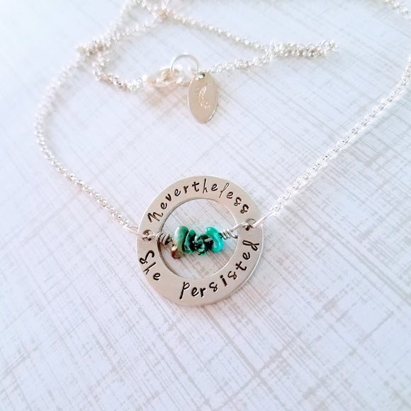 Nevertheless, She Persisted Necklace - Silver Fern Handmade
