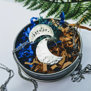 Crescent Moon Crater Necklace - Silver Fern Handmade