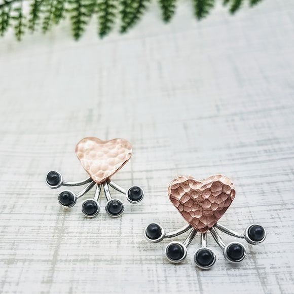 Copper Heart Ear Jackets - Silver Fern Handmade