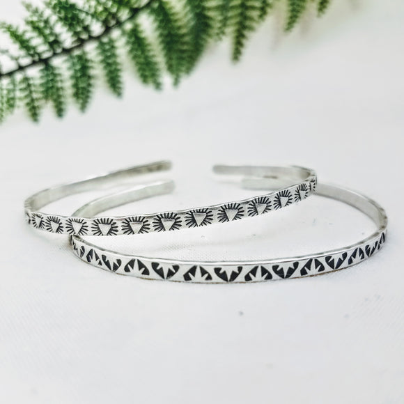 Stamped Stacking Cuff Bracelets - Silver Fern Handmade