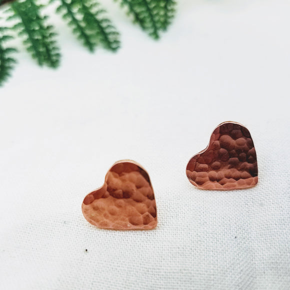 Copper Heart Earring Studs - Silver Fern Handmade