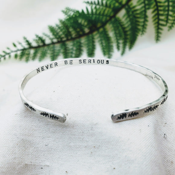 Stamped Stacking Cuff Bracelet - Silver Fern Handmade