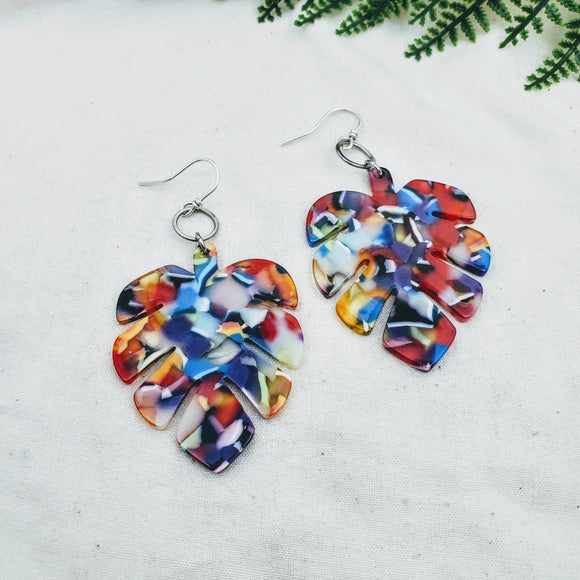 Rainbow Monstera Earrings - Silver Fern Handmade
