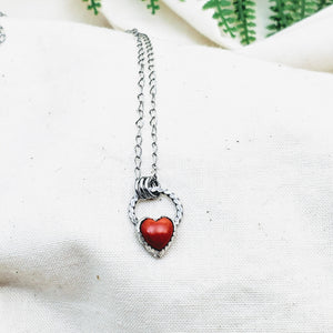 Tiny Coral Heart Necklace - Silver Fern Handmade
