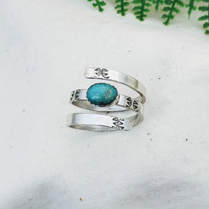 Oval Turquoise Wrap Ring - Silver Fern Handmade