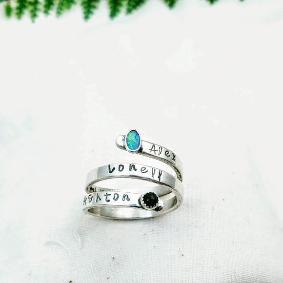Wrap Ring with Gemstones - Silver Fern Handmade