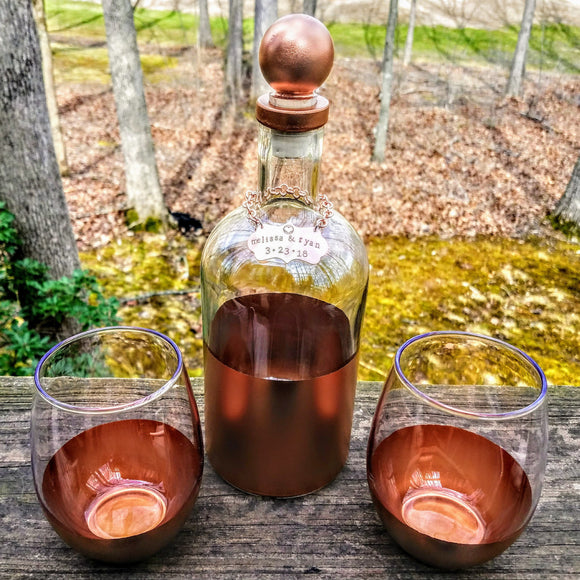 decanter set / decanter and glasses / decanter personalized / copper decanter / anniversary gift for man / gift for men / wine decanter -