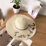 Letter Embroidery Summer Straw Hat