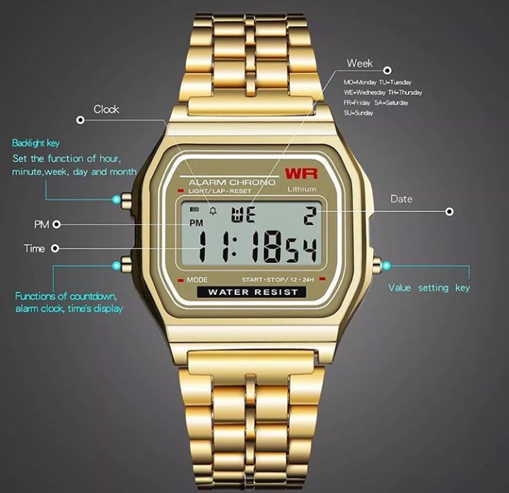 New Retro Classic LED Stainless Steel Digital Unisex Watch