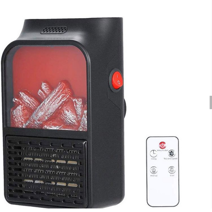 Portable Plugged In Flame Heater with Remote Control