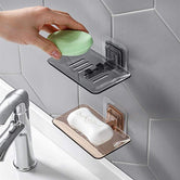 Drain Soap Bathroom Suction Wall Holder, Transparent  Wall-Mounted Soap Storage Rack, Kitchen Organizer Storage Rack