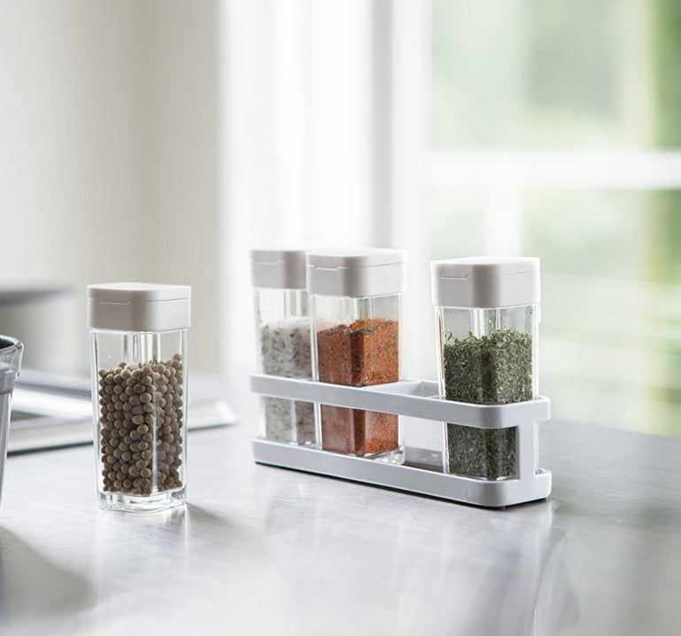 4Pcs Spice Bottles With Rack, Seasoning Shaker Box, Transparent Storage Containers For Salt, Spices & Herbs