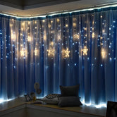 Star Curtain String Lights, Window Curtain Lights with 8 Flashing Modes Decoration for Christmas, Wedding, Party, Home Decorations (Warm White)