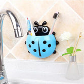 Ladybug Toothbrush & Toothpaste Holder, Wall-Mounted Toothbrush Storage, Wall Sucker Bathroom Holder