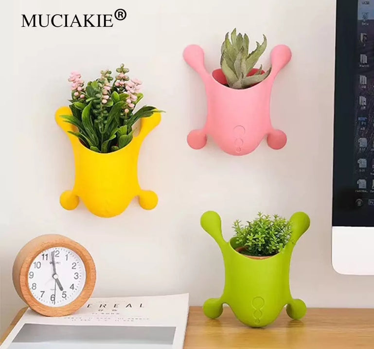 Multi-function Mini Lovely Office Creative Flower Pots, Wall Mounted Window Desk Pencil Holder, Mini Stationary Holder, Brush Holder