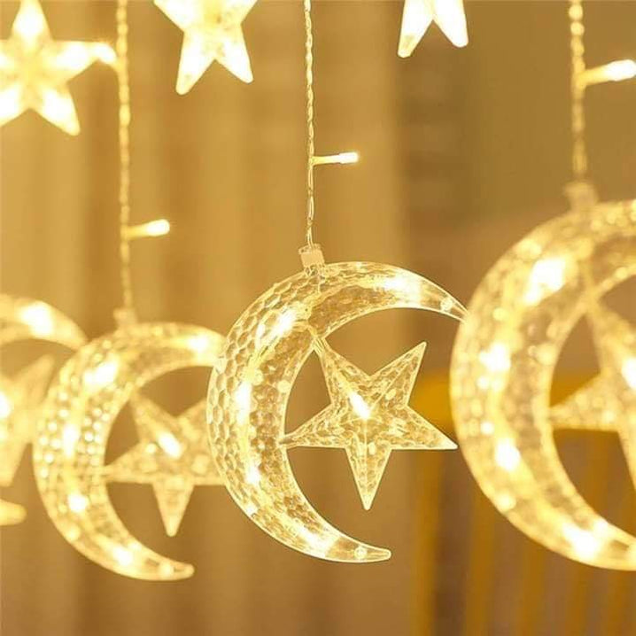 LED Star Moon Curtain Lights, Moon Star String Light with 8 Flashing Modes Decoration for Christmas, Wedding, Party, Home Decorations (Warm White)