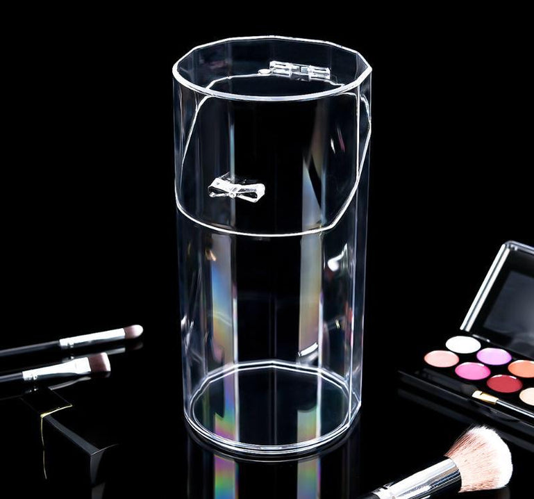 Acrylic Makeup Brush Holder With Pearls, Cosmetic Brush Case With Dustproof Lid, Countertop Brushes Holder