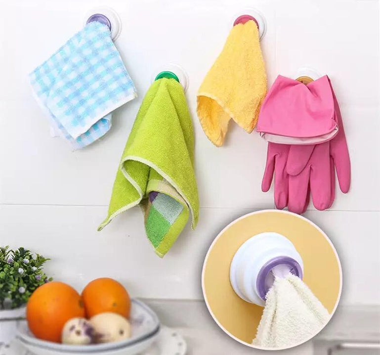 Self-Adhesive Washing Towel Hook, Wall Mounted Round Kitchen Towel Holder