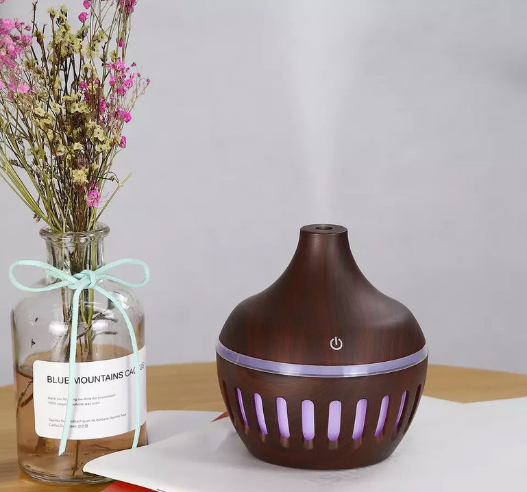 Wooden Essential Oil Diffuser, Cool Mist Humidifier, 300ml Ultrasonic Humidifier, Therapeutic Aroma Diffuser