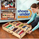 12 Compartment Non Woven Shoe Organizer, Underbed Shoe Storage Bag, Easy To Carry Shoe Bag