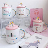 Unicorn Cute Ceramic Coffee Mug, Magical Funky Mug With Spoon, Pink Unicorn Tea Cup